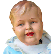 Antique Rare Painted over Bisque Mystery German Boy Character Cabinet Sized Boy Doll