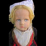 """SALE Early 18"""" Lenci Pouty Italian Felt Character Doll TLC"""