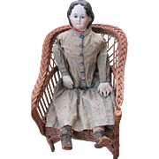 SALE Wonderful Antique Large Early '58 Greiner Papier Mache Doll