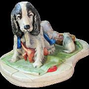 Vintage Naturecraft Congleton England Sculptural Figural Dog and Kitten Group 910 entitled Patience 1981