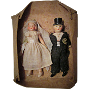 Antique German Original Bride and Groom Pair All Bisque Dolls never untied In Box