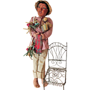 Fascinating Vintage Pre-WWII Cloth Glass Eyed Mexican Character Peddler Doll