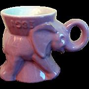 1983 Frankoma GOP Republican Lavender Elephant Mug Political Collectible