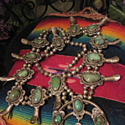 SOLD Substantial Vintage Native American Pawn Silver and Turquoise Squash Blossom Necklace wit