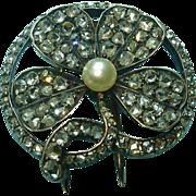 French 18k Edwardian Rose Cut Diamond Shamrock Good Luck Clover