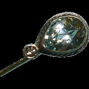 Aquamarine and Diamond 14k White Gold Stick Pin
