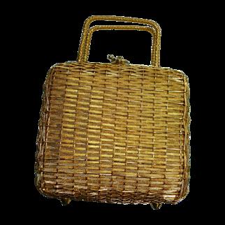Vintage Gold Weave Koret Bag 50s Leather Lining