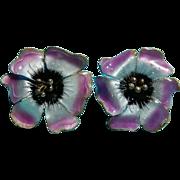 SALE PENDING Sterling and Enamel Flower Earrings Bold