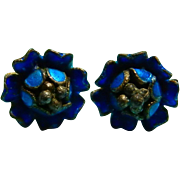 Sterling and Enamel Blue Flower Earrings