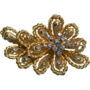 Dramatic 18K Diamond Fur Clip or Brooch 50s 60s Floral Brooch