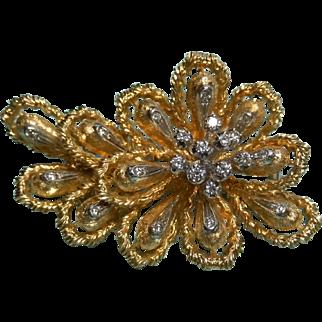 Dramatic 18K Diamond Fur Clip or Brooch 50s 60s Floral Brooch