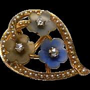 14k gold and diamond Art Nouveau Brooch Pendant Flowers Heart