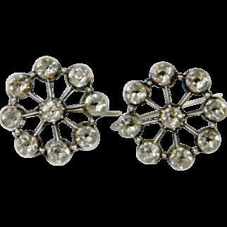 Black Dot 18th Century White Paste Cluster Earrings