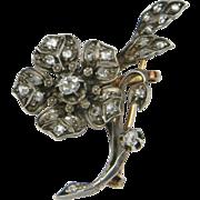 French Diamond Flower Spray Brooch