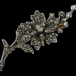 Diamond Flower Spray Brooch Pin