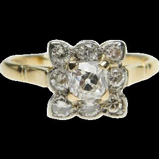 Antique Square Cushion Cut Diamond Ring