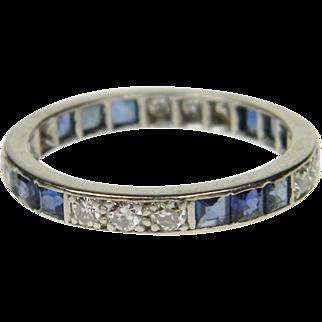 Art Deco Sapphire and Diamond Full Hoop Eternity Ring