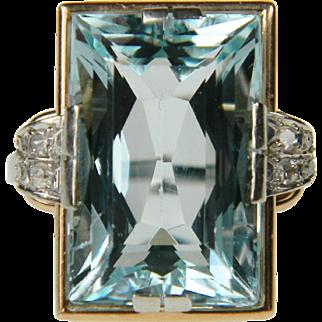 Antique Aquamarine and Diamond Ring