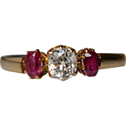 Victorian Cushion Cut Diamond and Ruby Ring