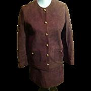 """SALE Vintage Anne Klein """"MOD"""" Suede Mini Skirt Suit"""