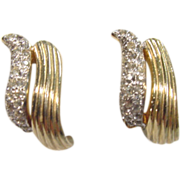 Vintage JOMAZ Gold Tone and Rhinestone Clip On Earrings