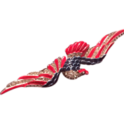 Trifari Patriotic American Eagle, Vintage Enamel and Rhinestone Brooch