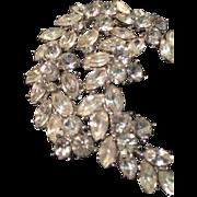 Vintage Crown Trifari Rhinestone Crescent Statement Brooch