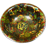 Antique Heavy Chinese Cloisonne Enamel Brass Floral Bowl Red Ground Colorful