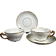 Rare Beautiful Geo Rouard Paris France Set of 2 Cups & Saucers on Theo Haviland Blanks in Whit