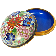 Round Chinese Floral Cloisonne Trinket Box from 1970s Bright Vivid Colors