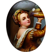 """SALE 50% OFF - Antique 19th Century Miniature Porcelain Painting after Titian's """"Young Gi"""