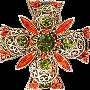SALE PENDING Vintage Emmons Filigree Burnt Orange and Green Maltese Cross Brooch Pin