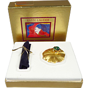 SALE Unused Estee Lauder Knowing Solid Perfume in Fabulous Frog Compact with Original Box