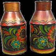 SALE Pair of Kreamer Tin Milk Jugs Canisters Americana Primitive Folk Art Pennsylvania Dutch .