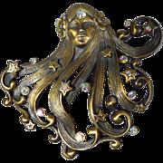 SALE PENDING Lovely JJ Jonette Jewelry Bronzed Pewter Art Nouveau Brooch Pin