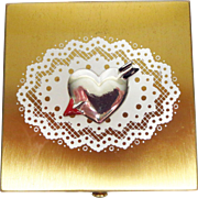 Vintage Wadsworth Square Compact with an Applied Heart and Enamel Decoration