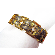 Very Interesting Link Bracelet in the Etruscan Revival Style with Safety Chain