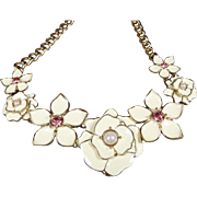 SALE Stunning Vintage Floral Enamel Statement Necklace with Rhinestones Cream White