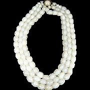 Vintage W Germany 3 Strand White Plastic Iridescent Necklace Beaded