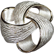 Vintage Large Chunky Textured Knot Brooch Love Knot Pin Gold and Silver Color