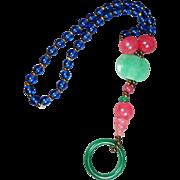 "Beautiful Early 20th Century Chinese Peking Glass Court Necklace 31"" Long"