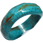 Vintage Chunky Crackle Finish Multi-Color Turquoise Lucite Faceted Bracelet