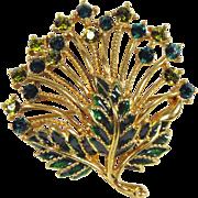 Lovely Vintage M Jent Green Rhinestone Floral Brooch
