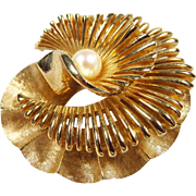 Vintage 1960s Marcel Boucher Brooch Pin with Center Cultured Pearl 8562P