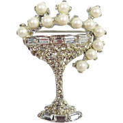 Fun Vintage Pell Champagne Glass Brooch with Clear Rhinestones and Faux Pearls