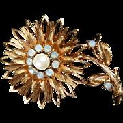 SALE PENDING Vintage Swarovski Crystals Gold Tone Flower Brooch Aurora Borealis Opal Stones