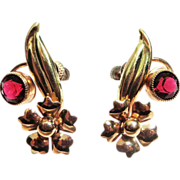 SALE Vintage Carl Art Flower Screw Back Earrings - Plus Free US Shipping