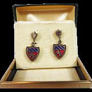 Vintage Crest Heraldic Shield Renaissance Earrings Rampant Lion Free US Shipping