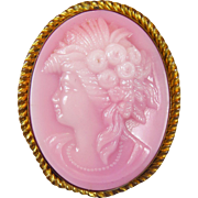 SALE Antique C Clasp Molded Pink Glass Cameo in High Relief
