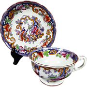 1894 Antique English Floral and Peacock Bird Cup and Saucer